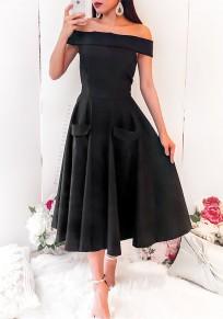Midi-robe épaules dénudées à glissière poches plissées haute taille élégante mignonne noir