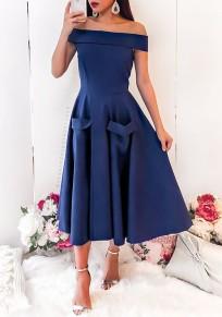 Midi-robe poches fermeture éclairs à l'épaule plissées taille haute mignonne élégante bleu