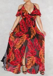 Red Palm Leaf Print Draped Slit Off Shoulder Halter Neck Deep V-neck Flowy Bohemian Maxi Dress