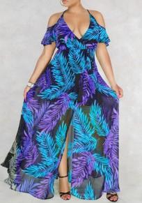 Blau Palm Leaf Drucken Drapierte Schlitz Schulterfrei Neckholder Tiefes V-Ausschnitt Flowy Bohemien Maxi Dress