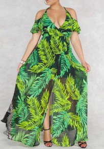 Green Palm Leaf Print Draped Slit Off Shoulder Halter Neck Deep V-neck Flowy Bohemian Maxi Dress