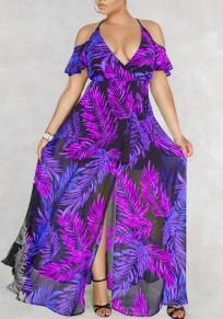 Lila Palm Leaf Drucken drapierte Schlitz aus Schulter Neckholder Tiefer V-Ausschnitt Flowy Bohemien Maxi Dress