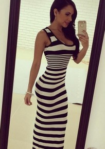 Black And White Striped Scoop Neck Sleeveless Fashion Maxi Dress