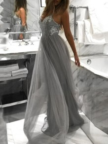 Grey Spaghetti Strap Sequin Grenadine High Waisted Elegant Graduation Wedding Party Maxi Dress