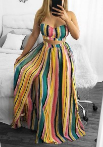 Green Striped Side Slit Off Shoulder Two Piece Flowy Bohemian Party Maxi Dress