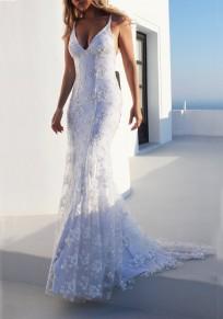 Robe longue avec fleurie brodée dentelle dos nu moulante sirene élégant de soirée blanc