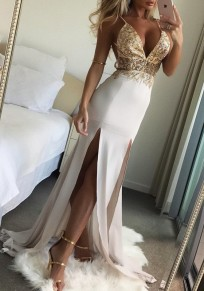 Golden Sequin Slit Spaghetti Strap Flowy Deep V-neck Elegant Graduation Party Maxi Dress