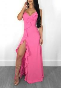 Pink Ruffle Side Slit Spaghetti Strap Deep V-neck Elegant Graduation Party Maxi Dress