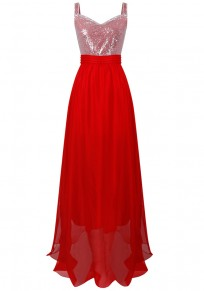 Red Patchwork Sequin Draped Flowy V-neck Banquet Wedding Formal Party Maxi Dress