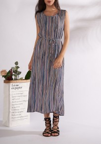 Blue Striped Pleated Sashes Flowy Beach Party Bohemian Maxi Dress
