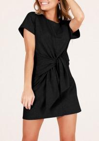 Mini vestido pajarita cuello redondo manga corta moda negro