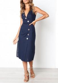 As Showed Buttons V-neck Fashion Midi Dress