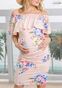 Pink Floral Print Ruffle Off Shoulder Bodycon Maternity For Babyshowes Bohemian Party Midi Dress