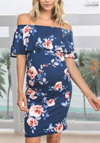 Navy Blue Floral Print Ruffle Off Shoulder Bodycon Maternity For Babyshowes Bohemian Party Midi Dress