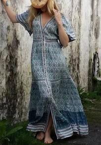 Robe longue style ethnique imprimé fluide boutonnage v-cou manches courtes vintage boho bleu
