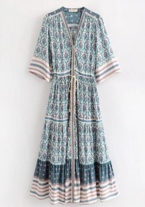 Blue Tribal Print Drawstring V-neck Bohemian Going out Maxi Dress