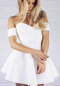 White Pleated Off Shoulder Backless Tutu V-neck Party Mini Dress