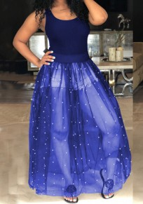 Royal Blue Patchwork Grenadine Pearl Fluffy Puffy Tulle Homecoming Party Maxi Dress