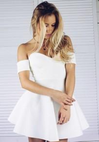 Robe courte tutu plissé bustier manches courtes mode de cocktail blanc