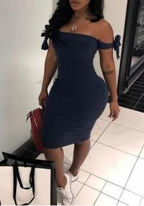Navy Blue Lace-up Short Sleeve Fashion Midi Dress