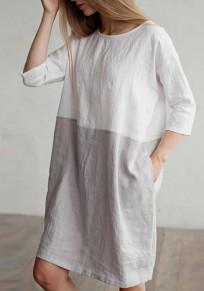 White Round Neck Print 3/4 Sleeve Round Neck Casual Midi Dress