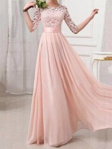 Blush Pink Lace Cut Out Draped Half Sleeve Banquet Formal Elegant Party Maxi Bridesmaid Dress