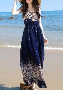 Blue Tribal Print Draped Bohemian Going out Maxi Dress