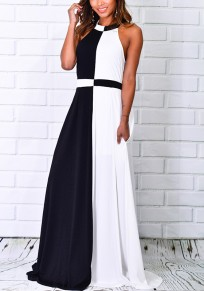 Black And White Patchwork Pockets Print Halter Neck Maxi Dress