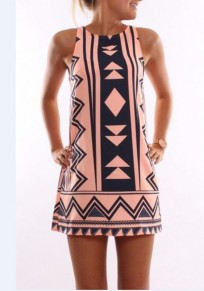 Pink Geometric Print Round Neck Fashion Mini Dress