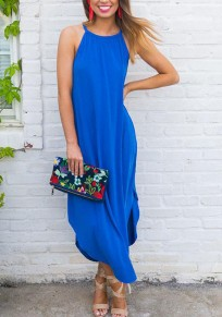 Blue Irregular Spaghetti Strap Draped Knot Beachwear Casual Going out Maxi Dress