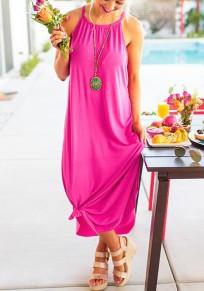 Pink Irregular Spaghetti Strap Draped Knot Beachwear Casual Going out Maxi Dress