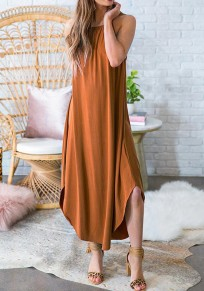 Brown Irregular Spaghetti Strap Draped Knot Beachwear Casual Going out Maxi Dress