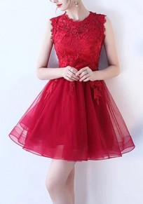 Burgundy Lace Grenadine Pleated Fluffy Puffy Tulle Homecoming Party Elegant Mini Dress