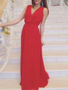 Red Draped Flowy V-neck Elegant Party Chiffon Maxi Dress