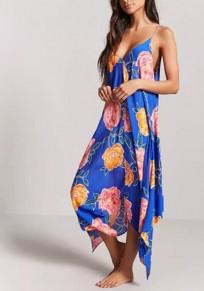 Royal Blue Floral Print Irregular Backless Spaghetti Strap Deep V-neck Flowy Bohemian Maxi Dress