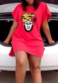 Mini robe fente d'impression de chiffre haut-bas col rond sans manches courtes fête à mode rouge