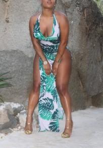 Green Palm Leaf Print Double Slit Halter Neck Backless Clubwear Bohemian Maxi Dress