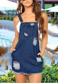 Mini robe bandoulière boutons poches découpesss denim détruit mignon décontracté bleu