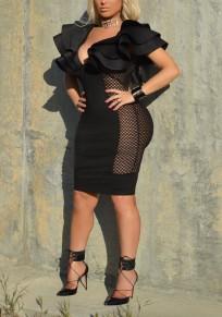 Black Patchwork Grenadine Cascading Ruffle Deep V-neck Bodycon Clubwear Party Midi Dress