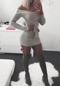Grey Sashes Off Shoulder Backless Bodycon Clubwear Party Mini Dress