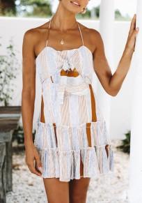 Mini robe noeud-papillon sans manches volantées falbala licou cou rayé fête de retour à la maison mignon kaki