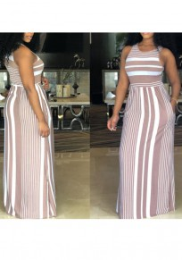 Pink White Striped Print Draped High Waisted Pockets Round Neck Casual Beachwear Maxi Dress