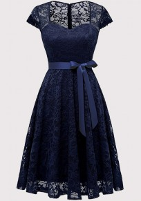 Navy Blue Lace Cut Out Sashes Pleated Bodycon V-neck Elegant Party Midi Dress