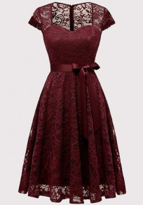 Burgundy Lace Cut Out Sashes Pleated Bodycon V-neck Elegant Party Midi Dress