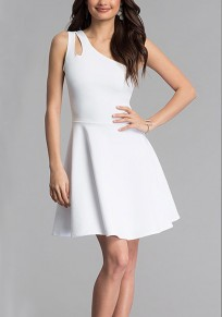 White Draped Asymmetric Shoulder Ruched A-Line Office Worker/Daily Mini Dress
