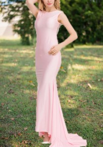 Pink Patchwork Sequin Grenadine Draped Bow Backless Formal Banquet Elegant Party Maxi Dress
