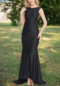 Black Patchwork Sequin Grenadine Draped Bow Backless Formal Banquet Elegant Party Maxi Dress