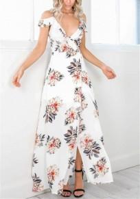 Robe longue imprimé à fleurie dos nu fendu décolleté plongeant boho blanc