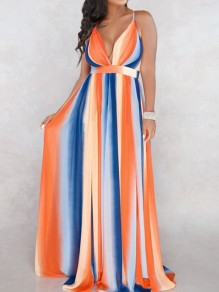 Orange Striped Spaghetti Strap Omombre Flowy Deep V-neck High Waisted Party Maxi Dress