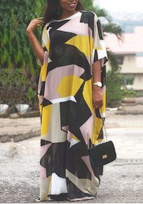 Yellow Color Block Print Draped Half Sleeve Round Neck Going out Maxi Dress